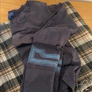 Pendleton slub long sleeve embroidered tee S